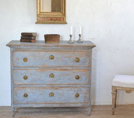Antique Swedish Commode Decorative Collective Blue In