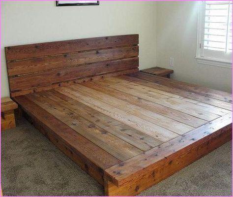 King Size Wood Platform Bed Frame With