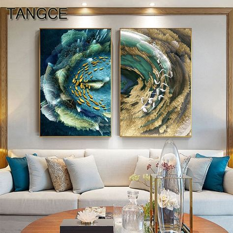 Abstract Golden Fish Curve Canvas Poster Wall Picture Home Decor Art Print