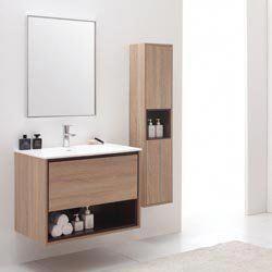 Sonoma Vanity Set Restored Khaki Wood Bathroom Interior
