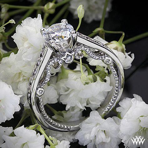 Verragio Beaded Channel Set Diamond Engagement Ring - INS-7064R - Verragio Insignia Collection. Features 0.60ctw of Round Brilliant Diamond Melee (F/G VS).