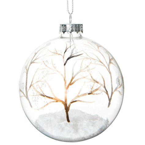 Bola navideña transparente de cristal 8 cm FORÊT ENCHANTÉE   - Vendido por 6