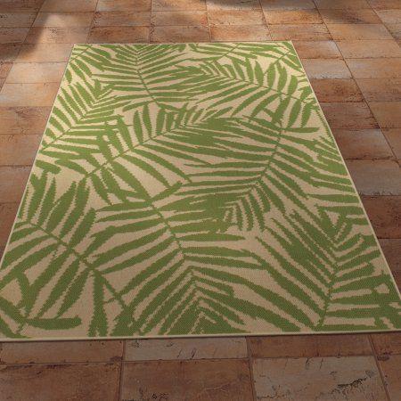 Mainstays Palm Indoor Outdoor Area Rug Walmart Com Tropical
