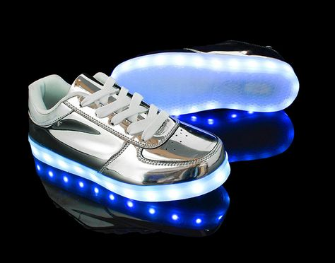 Women Men Gold Silver USB LED Light Up Shoes High Top Luminous Casual Sneakers