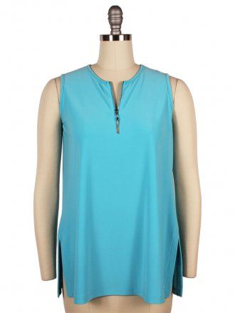 Sympli Womens Sleeveless Matrix Flip Top~Turquoise