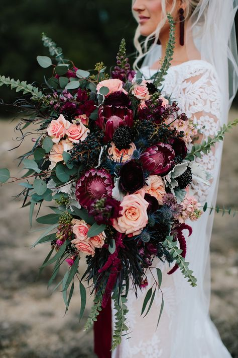 fall dark purple and coral wedding bouquet Forget the bouquet toss! You won't want to let go of these these beautiful fall wedding bouquets, let alone chuck one across the reception hall. Fall Wedding Bouquets, Fall Wedding Flowers, Floral Wedding, Cascading Bridal Bouquets, Fall Wedding Purple, Bridal Bouquet Fall, Wedding Bouquet Pearls, Big Bouquet Of Flowers, Boquette Flowers