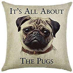 Pug Throw Pillow Case It S All About The Pugs Pattern 18x18 Inch