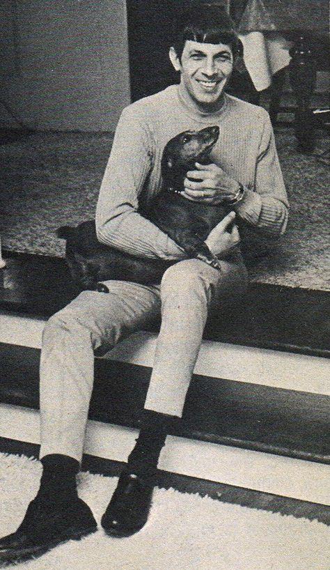 Actor Leonard Nimoy with dachshund dog. >Vintage #dogs #pets #Dachshunds Facebook.com/sodoggonefunny
