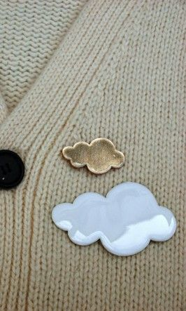 Cloud brooches out of oven clay