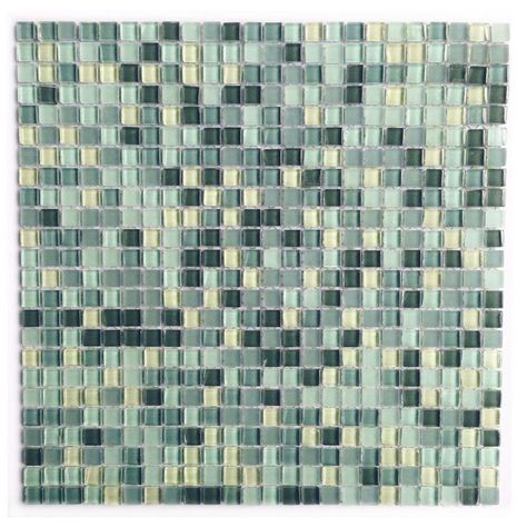 Abolos Petite Spring Green Grid Mosaic 0 375 In X 0 375 In Glass