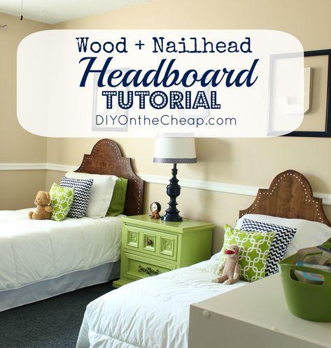 Wood + Nailhead Headboard Tutorial via DIYOntheCheap.com