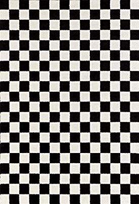 Amazon Com 1909 Checkered Black And White 5 X 7 Area Rug Carpet Kitchen Dini Amazon Amazon Com 190 In 2020 Rugs On Carpet Black Carpet Checkered Decor