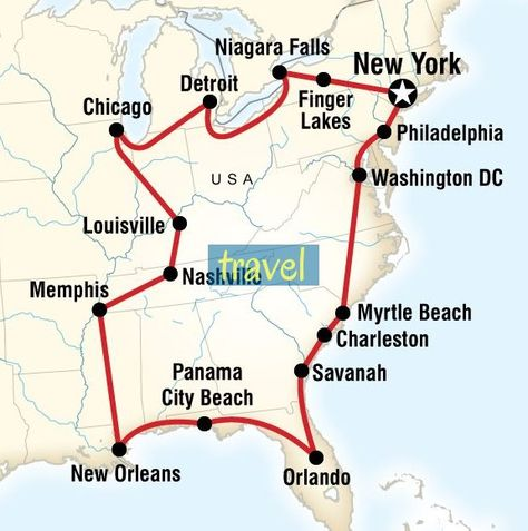 Map Of The Route For Usa East Coast Road Trip Karte Der Route Fur