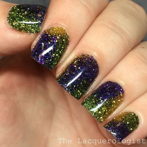 It's Fat Tuesday and I have some purple, green and gold nails for you to celebrate! These are glittery and party-ready! Whenever I want a super glitter look, I turn to this