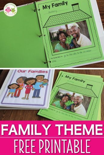 Here is a free family theme printable for you. It is a great activity to add to your Thanksgiving, all about me, or family theme lesson plans. Use the pages individually or bind them to create a class book (cover included) Perfect for preschool, pre- Preschool Family Theme, Family Activities, All About Me Activities For Preschoolers, November Preschool Themes, Summer Activities, Toddler Themes, Toddler Art, Preschool Lesson Plans, Preschool Songs