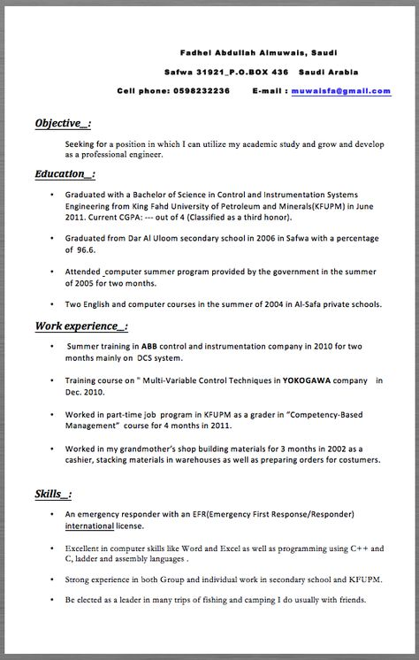 Professional Engineer Resume Examples 2017 Fadhel Abdullah - principal test engineer sample resume