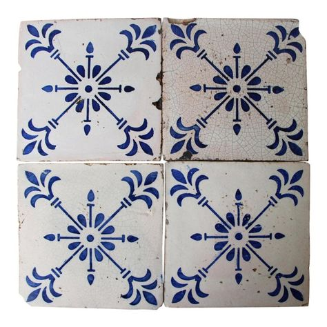 Set of 4 Original Art Deco Portuguese early Century Blue Flower Tiles, Tin-Glazed Pottery Earthenware Glazed Pottery, Glazes For Pottery, Glazed Ceramic, Delft Tiles, Tin Tiles, Antique Tiles, Vintage Tile, Flower Tiles, Slate Stone