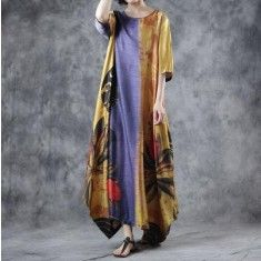 0ca51667afa9 Style blended yellow Round Neck clothes top quality Half Sleeve Loose  Printed Dress