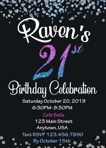 21st Birthday Invitation 21st Birthday Invitations Birthday Invitations 21st Birthday