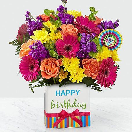 Birthday Brights Bouquet Vase Included Happy Birthday Flower