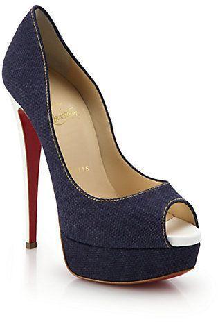 new arrivals 0240b a8a0c Christian Louboutin Lady Peep Patent Leather-Heel Denim Peep ...