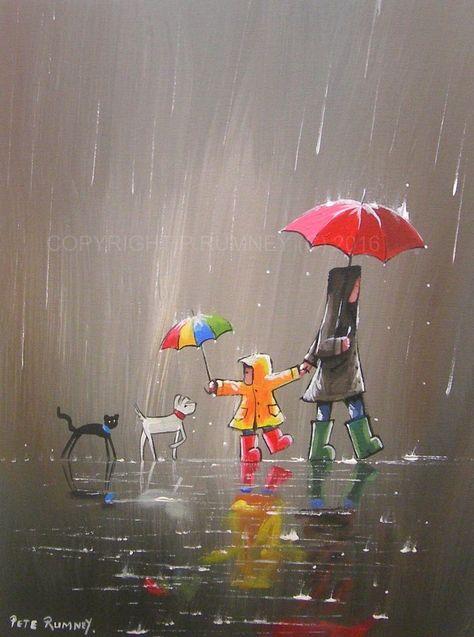PETE RUMNEY FINE ART BUY ORIGINAL ACRYLIC OIL PAINTING NEW FRIENDS RAIN UMBRELLA in Art, Direct from the Artist, Paintings | eBay