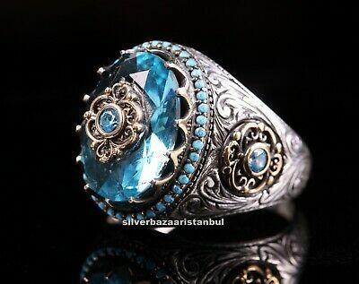 925 Sterling Silver Handmade Men/'s Jewelry Aquamarine Men/'s Ring