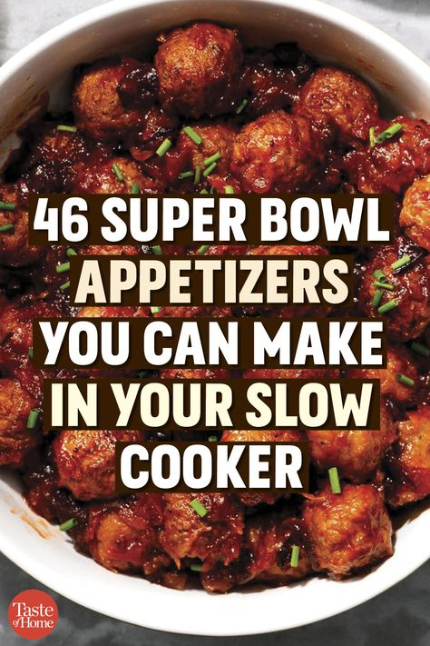 46 Super Bowl Appetizers You Can Make in Your Slow Cooker 46 Super Bowl Appetizers You Can Make in Your Slow Cooker,Game Day Food 46 Super Bowl Appetizers You Can Make in Your Slow Cooker Bowl Party Food Football Party Foods, Football Food, Superbowl Party Food Ideas, Best Superbowl Food, Tailgating Ideas, Slow Cooker Appetizers, Appetizer Recipes, Super Bowl Appetizers Ideas, Super Bowl Dessert Ideas