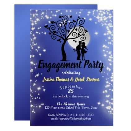 Engagement Party Full Moon Starry Night Invitation Zazzle Com Engagement Party Engagement Party Invitations Invitations
