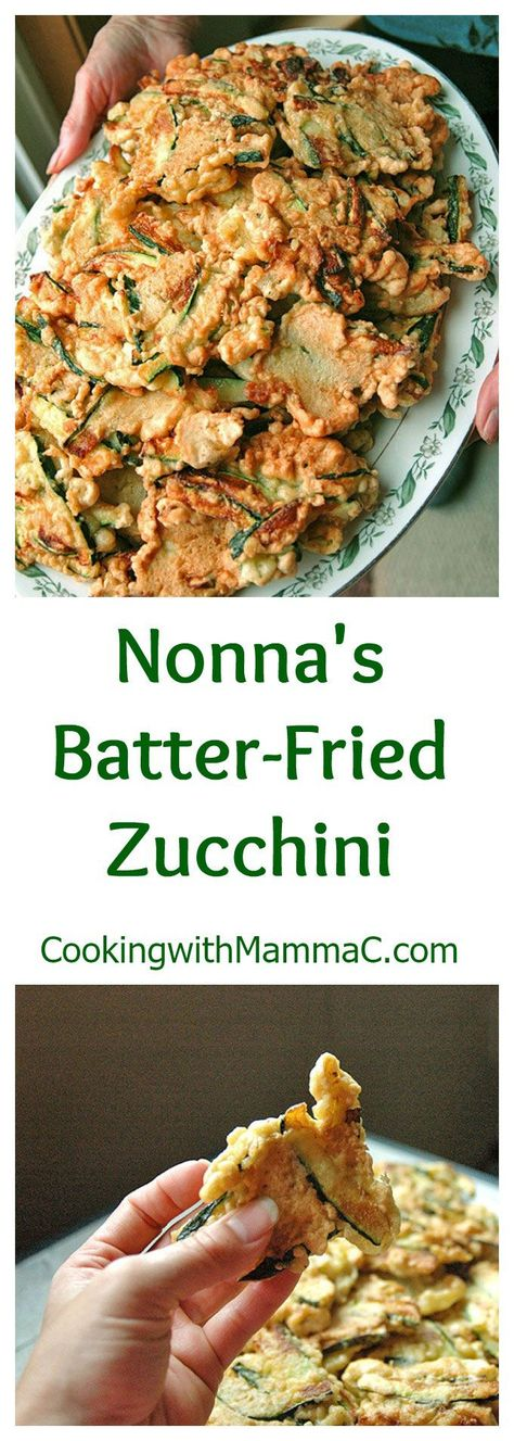 Nonna's Batter-Fried Zucchini -- The best fried zucchini ever! A delicious Italian appetizer, side dish or snack made just like in Naples!