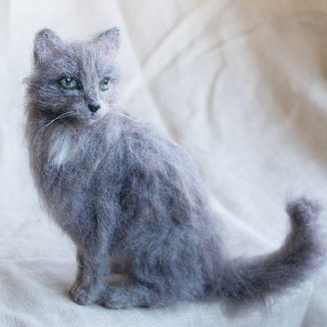 Nadel Gefilzt Katze Haustier Portrait Grau Haustiere Katzen