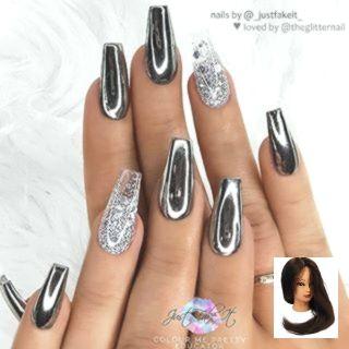 Black Chrome Coffin Effect Glitter Nail Effect Silver Glitter Nails Ombre Silver Black Chrome Nails Designs Black Chrome Nails Silver Glitter Nails
