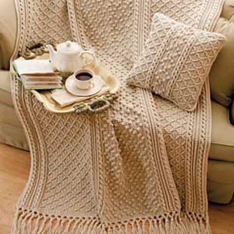 Irish Knit-Style Afghan & Pillow by Bonnie Barker