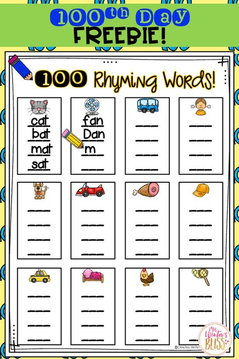 FREE Day of School Activity & Teaching Ideas To help ensure the day is something you can look forward to and enjoy (instead of stress over and worry about planning) I'm happy to share with you my Day of School Celebration Centers and a FREEBIE. Kindergarten Shirts, 100 Day Of School Project, School Projects, Rhyming Activities, Kindergarten Activities, Preschool, Physical Activities, Stress, 100 Day Celebration