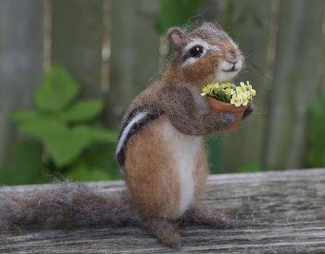 Needle Felted Chipmunk Realistic Life sized poseable | Etsy