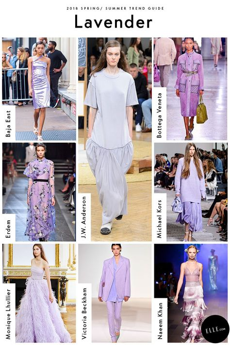 Lavender  Victoria Beckham and Michael Kors Collection are hinting that Millennial Pink will be replaced by pastel-adjacent lavender come springtime. This soft purple hue is the next it-color, making a turn in knits, suiting, and whimsical formal wear.