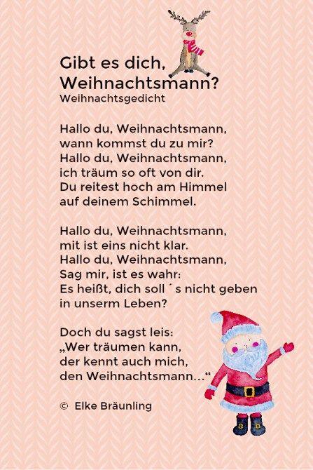 Weihnachtsgedichte Kita.Gibt Es Dich Weihnachtsmann Weihnachtsgedicht немецкий язык