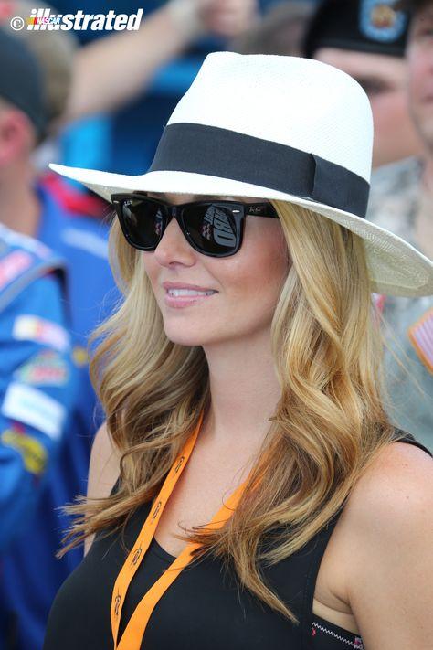 Amy Reimann, girlfriend of Dale Earhnardt Jr., at Charlotte Motor Speedway, May 2014. (Photo by Jim Fluharty.)
