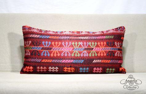 Red and blue kilim pillow rug lumbar