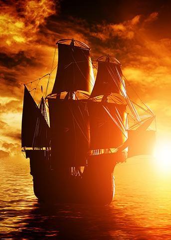 Sunset Pirate Ship Pirate Ship Pirates Sunset