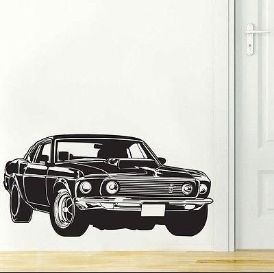 Ford Mustang Shelby Gt Muscle Race Car Wall Decal Sticker Decor Wall Art Vinyl Naklejki Na Steny Gonochnyj Avtomobil Avtomobil