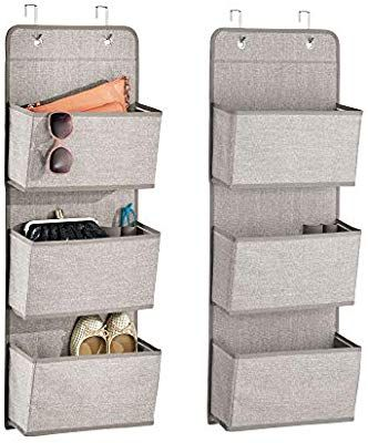 Sunglasses Shoes Grey 3 Pockets Each mDesign Over The Door Fabric Wardrobe Storage Organiser for Handbags Pack of 2