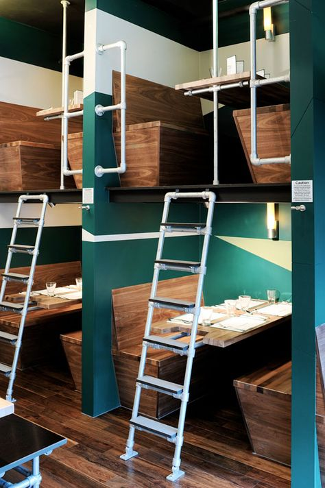 outline: bangalore express restaurant, london I so wanna climb the ladder and eat in the top booth.