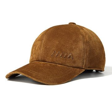 9c4ee067b10c4 High-quality Men Genuine Leather Baseball Cap Casual Outdoor Sun Hat  Adjustable Breathable Flat Top Cap - NewChic Mobile