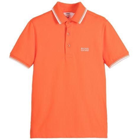 6356c950e BOSS Boys Orange Cotton Piqué Polo Shirt