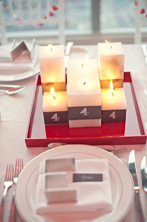 Candle Centerpieces Double as Table Numbers - Cool Red Lacquered Trays ~ Photography by CarlaTenEyck.com, Event Planning, Design & Flowers by dmeventsny.com