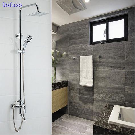 Dofaso Brand Prime Quality Chrome Finish Luxury Bathroom Shower Sets Faucet Mixer Tap Wall Mount With Handshower With Bottom Tap Bathroom Shower Faucets