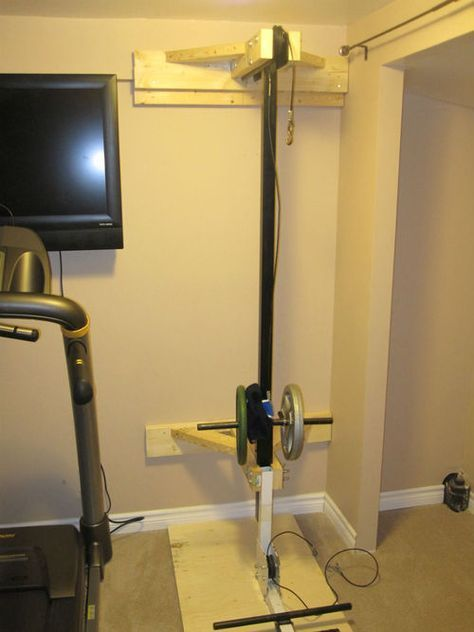 Wall Mounted My Northern Lights Lat Pull Down And Rowing Attachment Usually It Mounts To The Bench But Doing It Thi Home Made Gym Diy Home Gym Home Gym Design