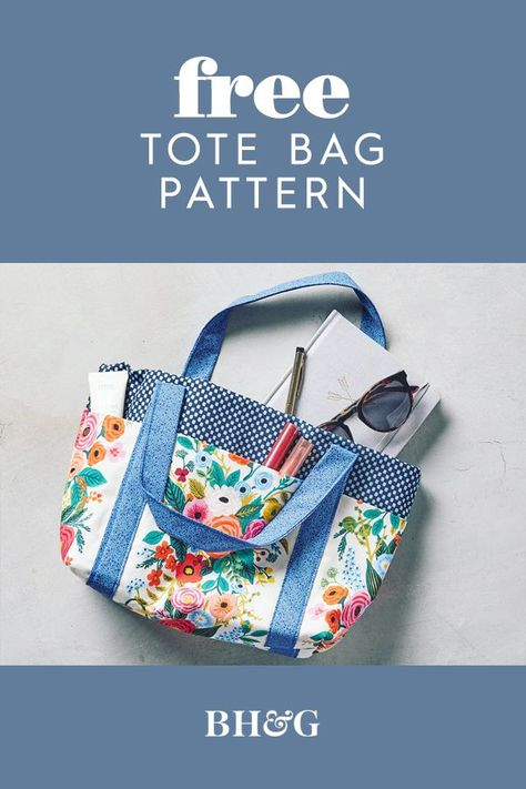 Choose your favorite patterned fabric and this easy sewing project becomes as statement-making as it is practical. We'll show you how to sew a bag in just five steps—this is a great sewing project for beginners. #sewingpatterns #howtomakeatotebag #diypurse #diytote #bhg