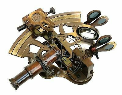 RARE NEW Brass Sextant Nautical Brass Sextant Working Marine Vintage//Leather Box